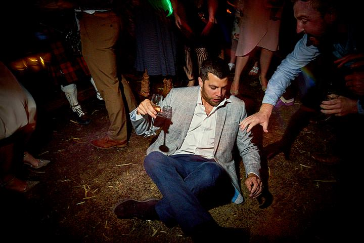 wedding guest drunk and sat on the floor
