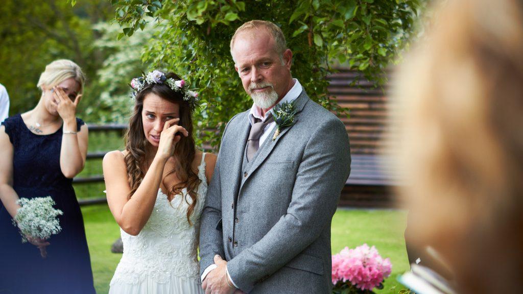 Bride and Bridesmaid crying