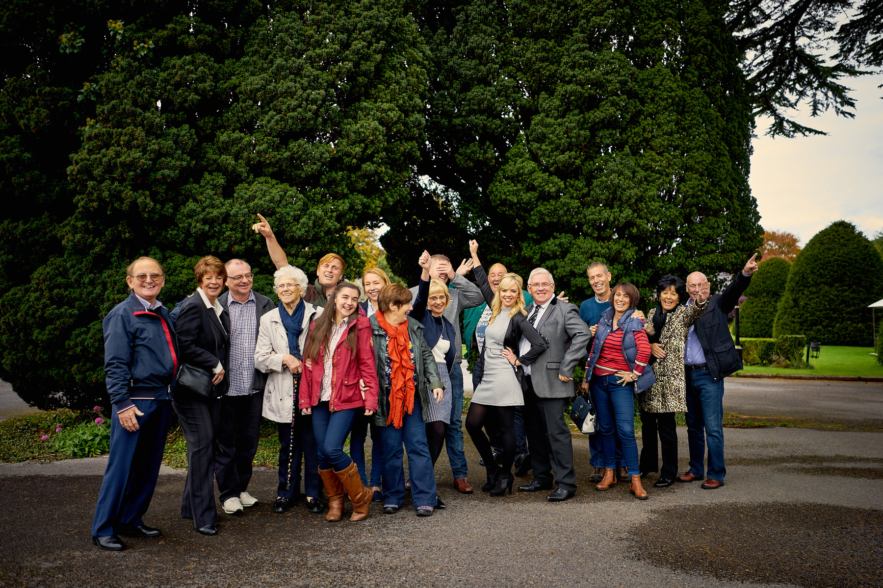 Group Photo by trees in Maenan Abbey car park