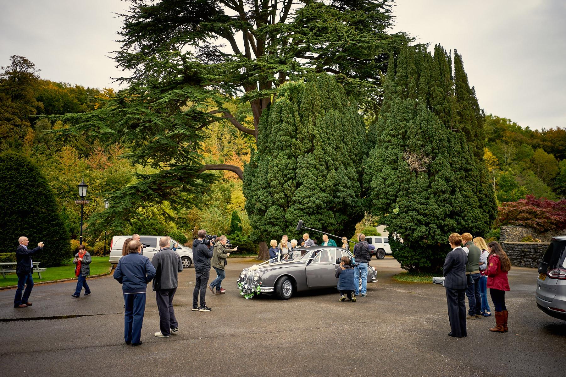 Car SOS film crew in Maenan Abbey car park