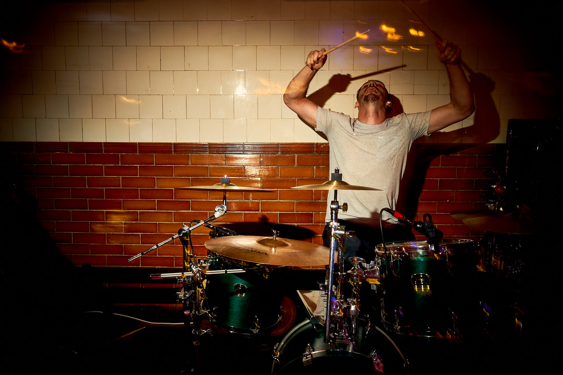 Anthemic Live Band's drummer at Plas Dinam