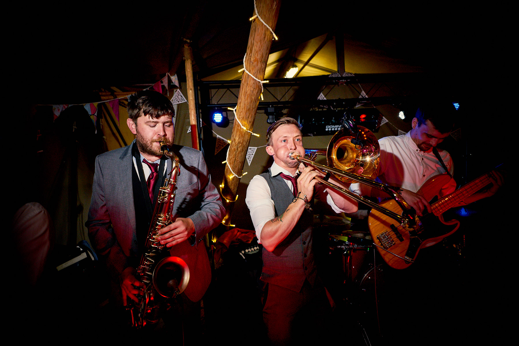 Lady & The Tramps live wedding band playing a Tipi Wedding