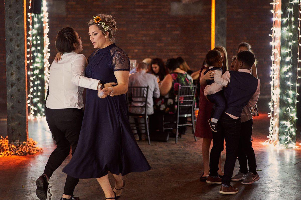 wedding guest dancing during wedding breakfast