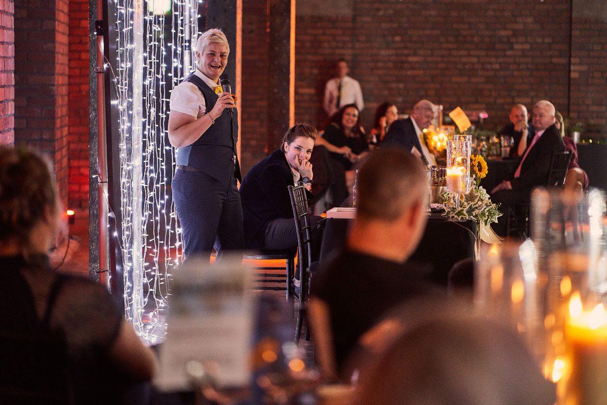 Victoria Warehouse candle light and fair light wedding speeches