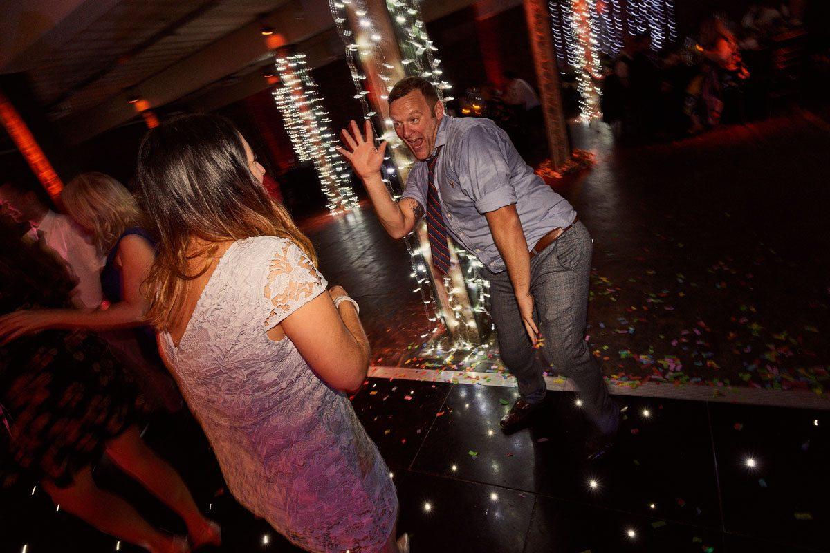 drunken dancing at Victoria Warehouse wedding