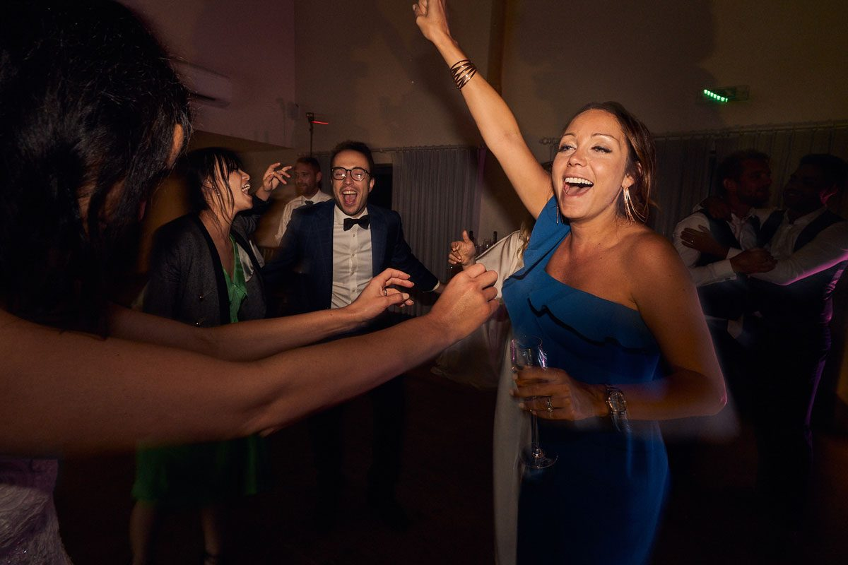 wedding guest having a great time
