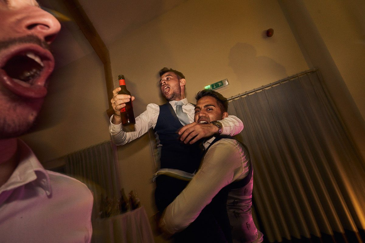 wedding guest being picked up by Best Man