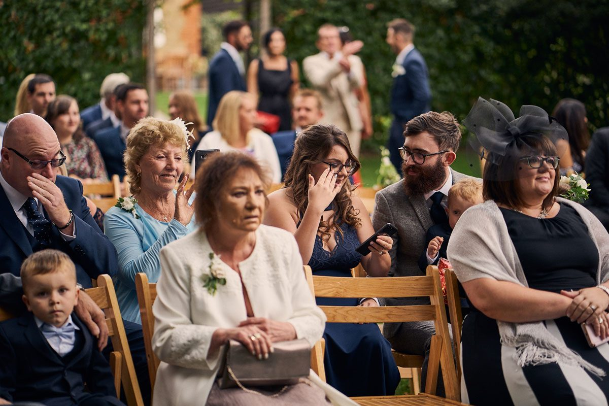 wedding guest's crying in outdoor wedding ceremony