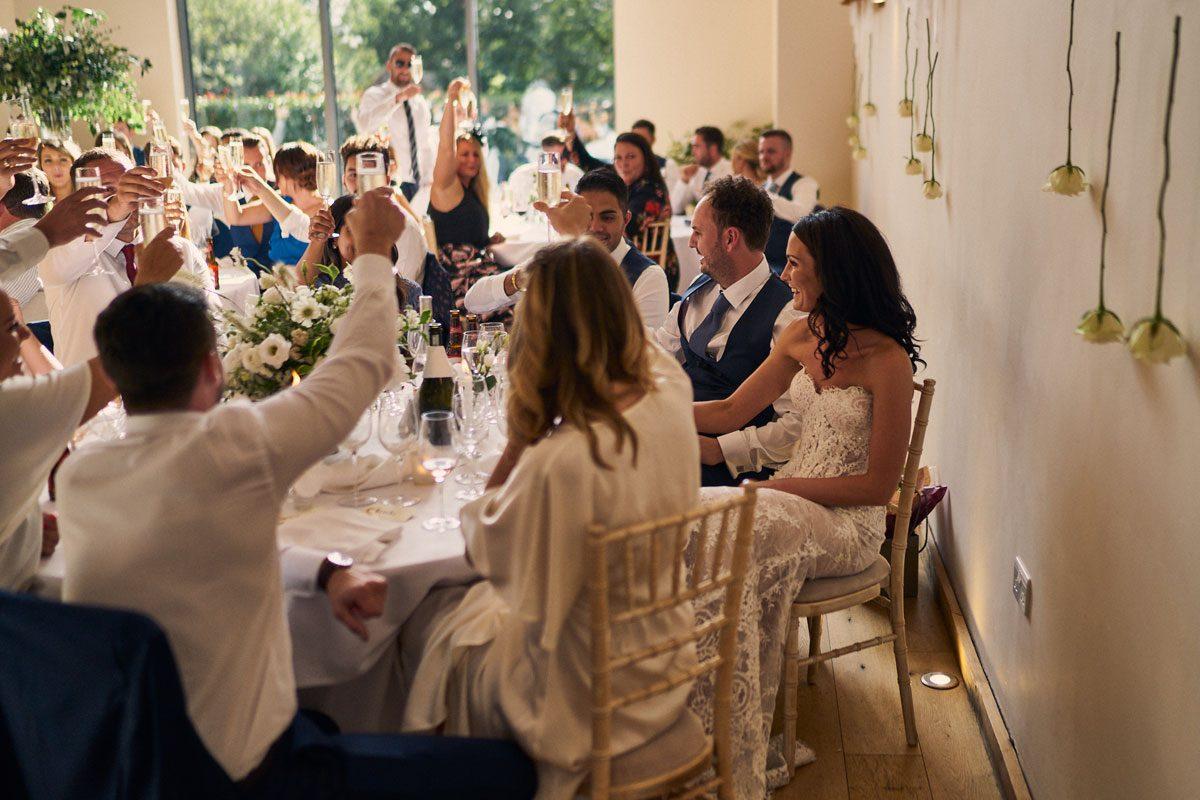 everyone toasting the new Bride & Groom