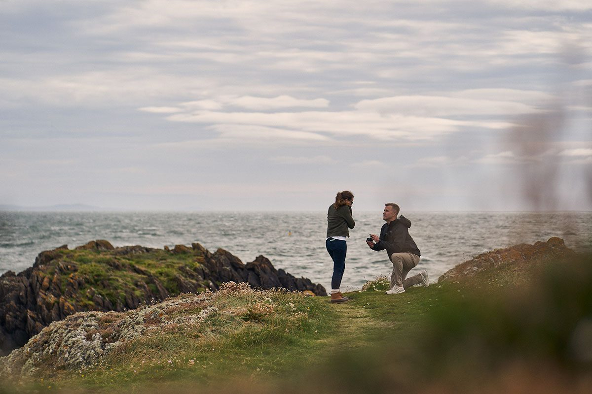surprise proposal on Llanddwyn Island, Anglesey, North Wales