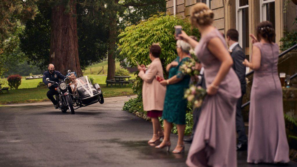 bride in motorbike sidecar