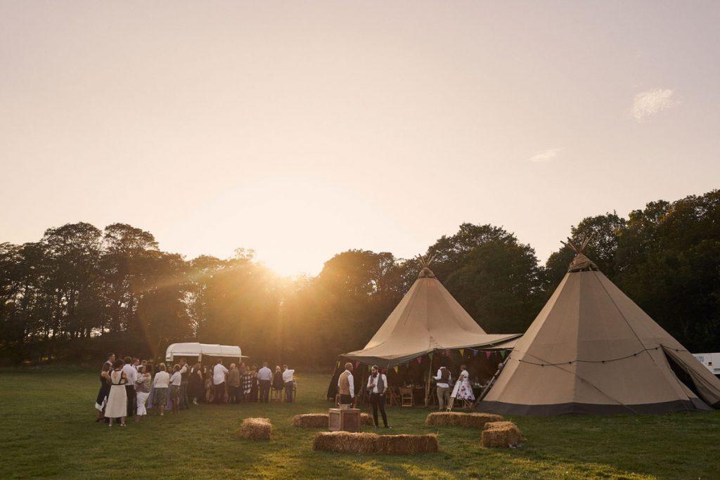 wedding tipi at sunset