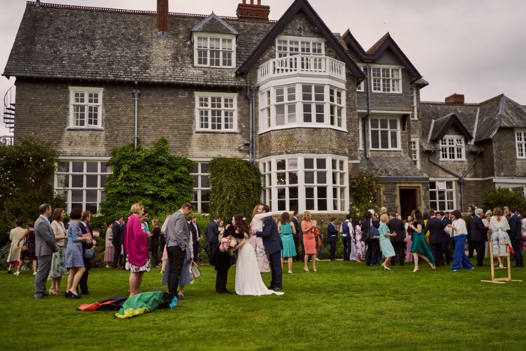 Wedding reception outside at Plas Dinam