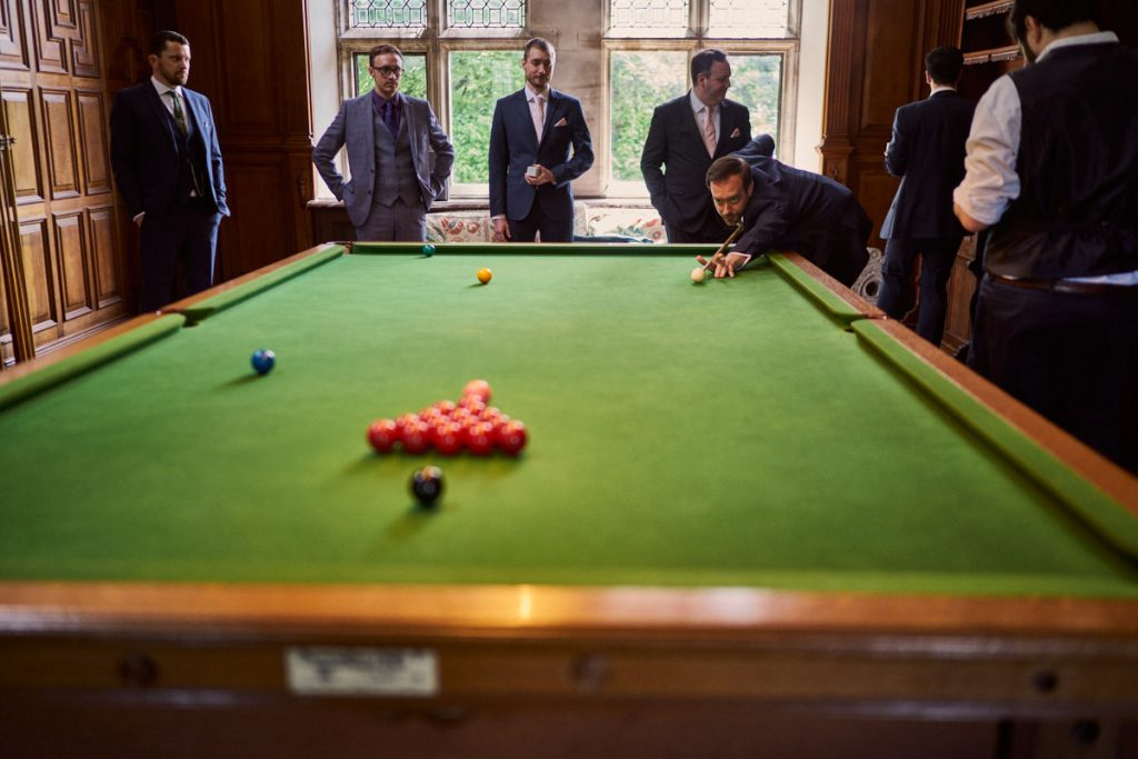 Groom & Best Men playing snooker at Plas Dinam