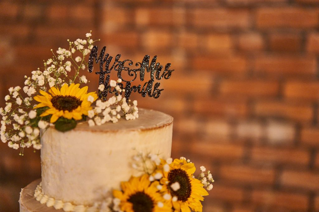 sunflower decorated wedding cake