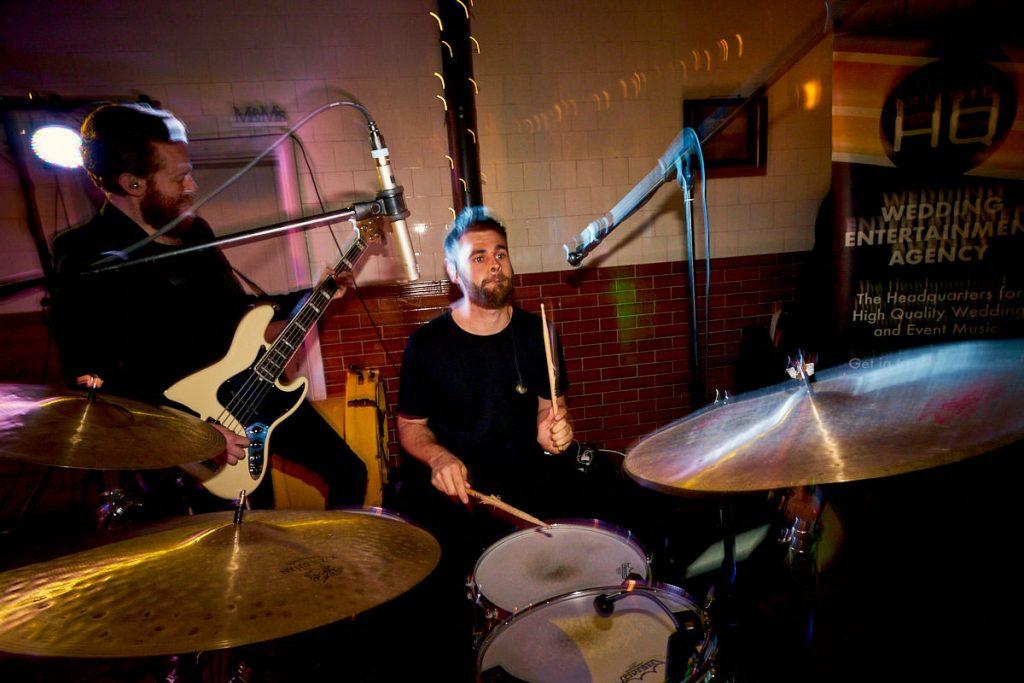 Trilogy wedding band playing at Plas Dinam