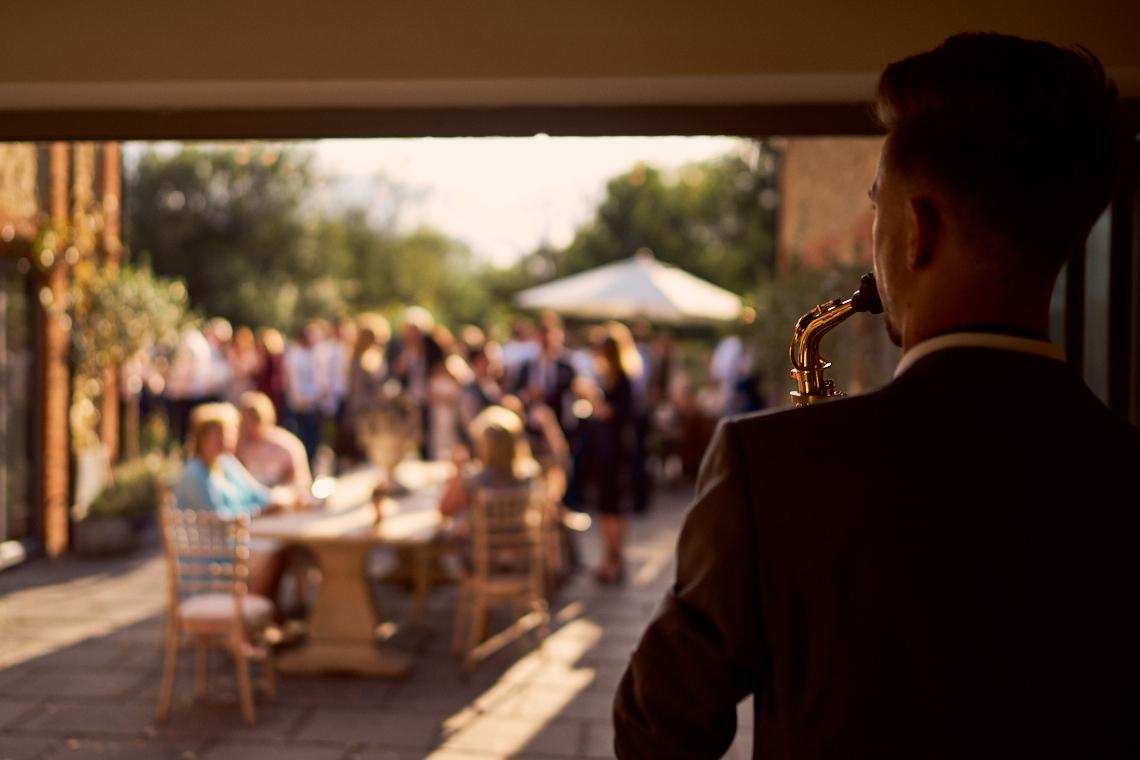 Jazz musician playing a summer wedding reception