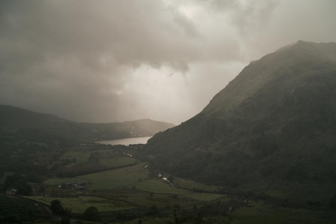 Llyn Gwynant Barns, Llyn Gwynant lake and the Nant Gwynant valley on a cloudy day.