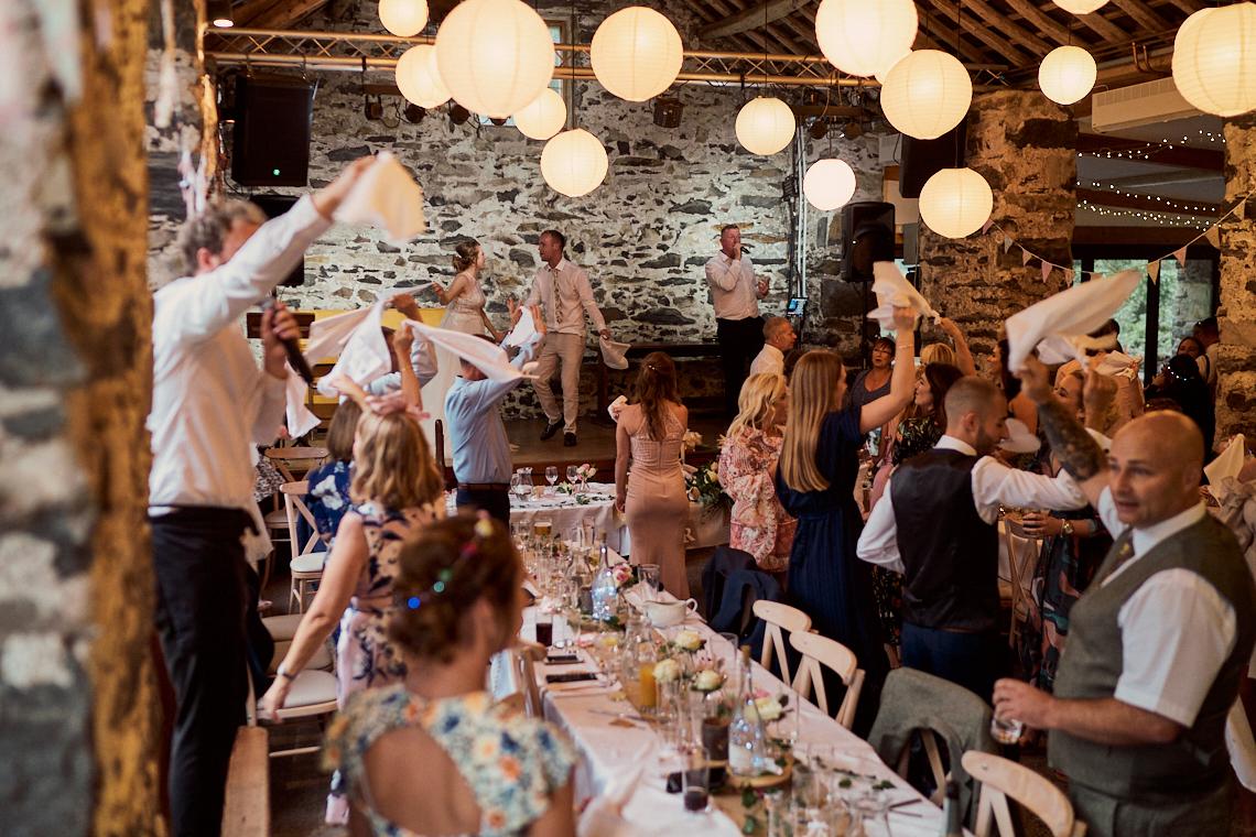 everyone up and dancing for singing waiters at Llyn Gwynant Barns