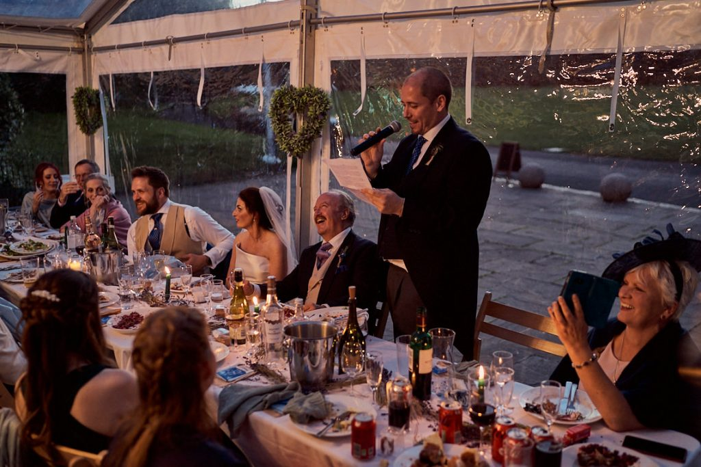 father of the bride giving his wedding speech