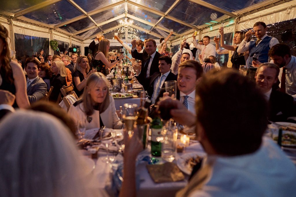 guests toasting the happy couple