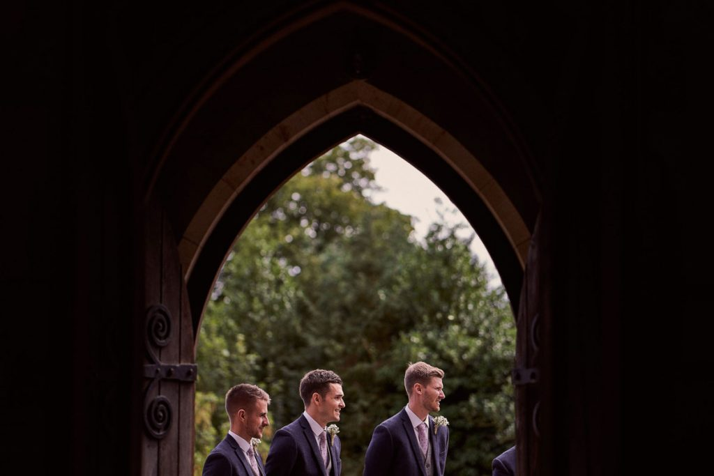 Best Men waiting for the Bride & Bridesmaids outside the church.