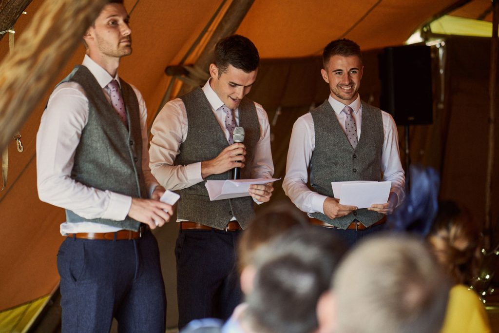 Best Men making their wedding speech in papa kata tipi