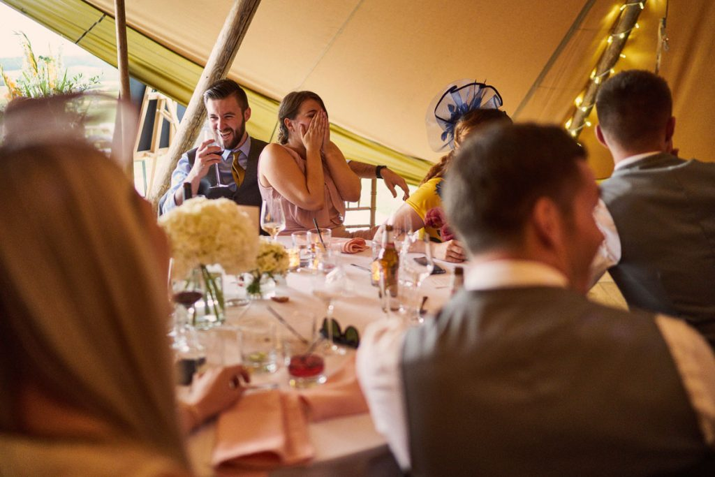 wedding guest shocked at groom's jokes