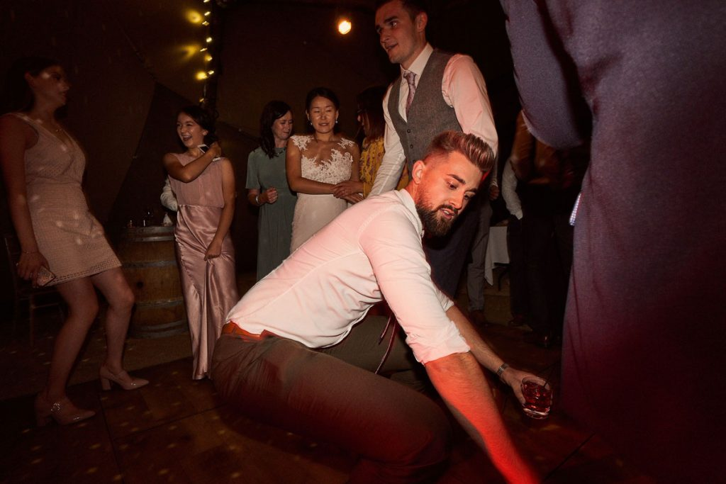 wedding guest with crazy dance moves
