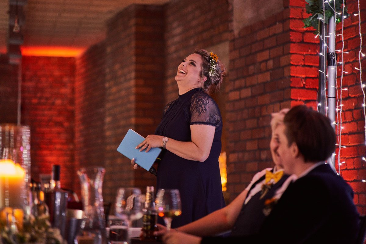 Bridesmaid making a speech