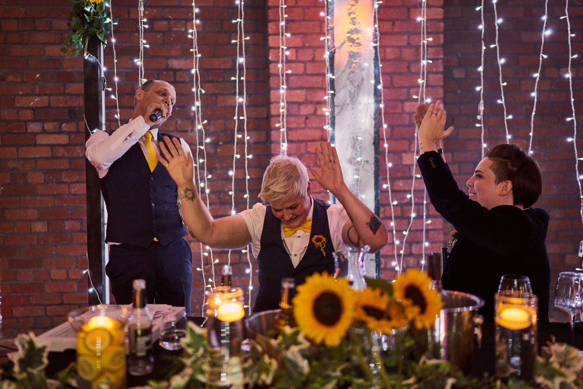 brides celebrating Best Man speech