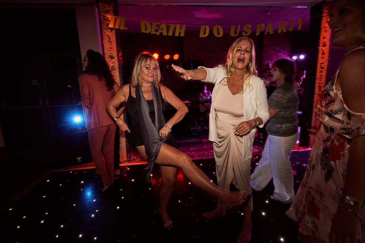 wedding guest showing some leg on the dance floor