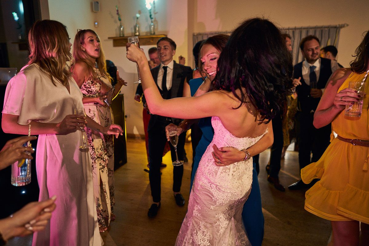 wedding guest dancing with the Bride