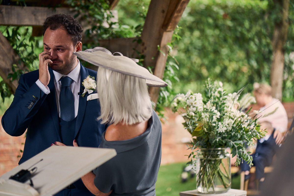 Groom getting emotional before the wedding