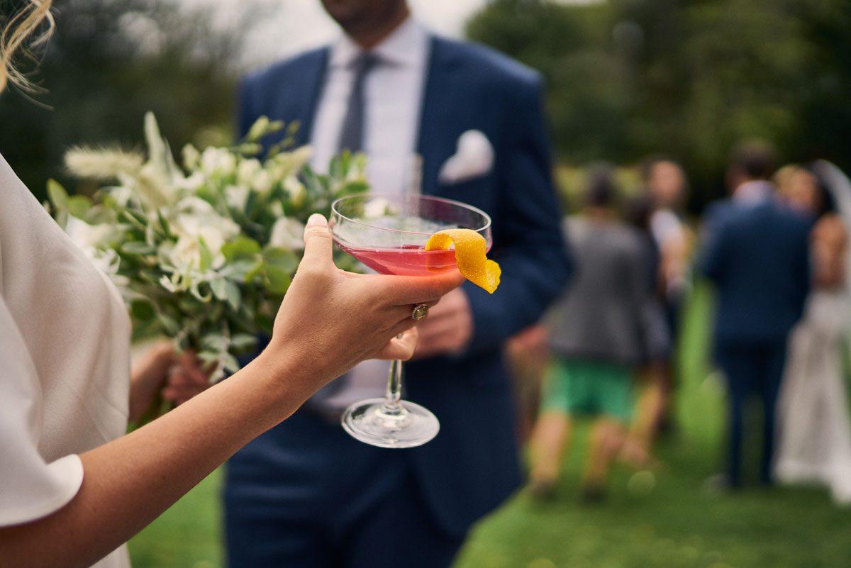 cocktails outside at Millbridge Court