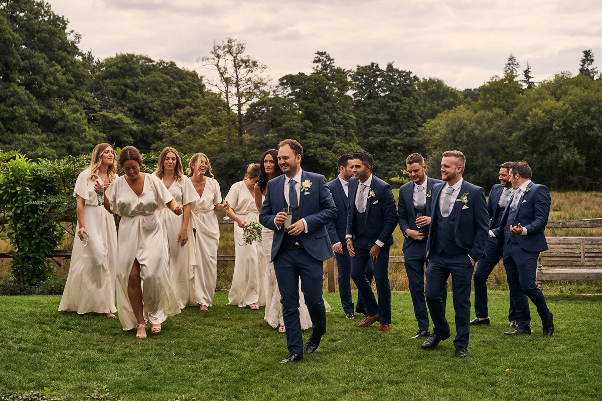 unposed group photo of Bride & Groom and Bridesmaids & Best Men