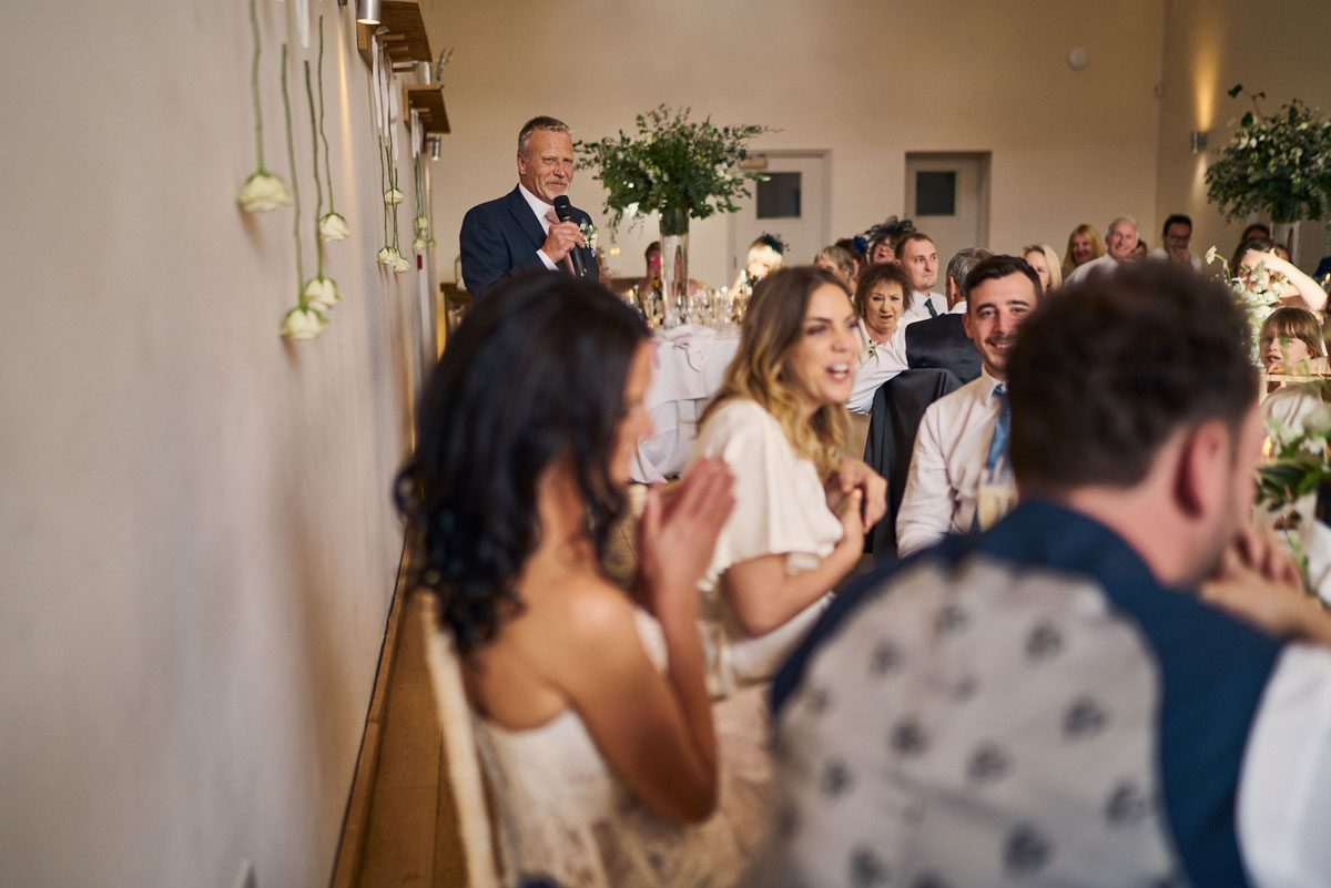 Father of the Bride making his wedding speech at Millbridge Court