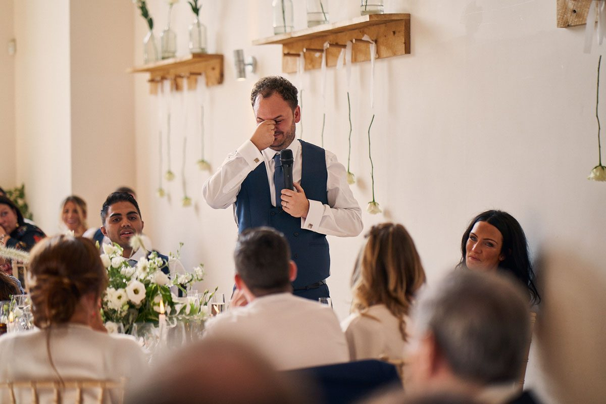 Groom trying not to cry