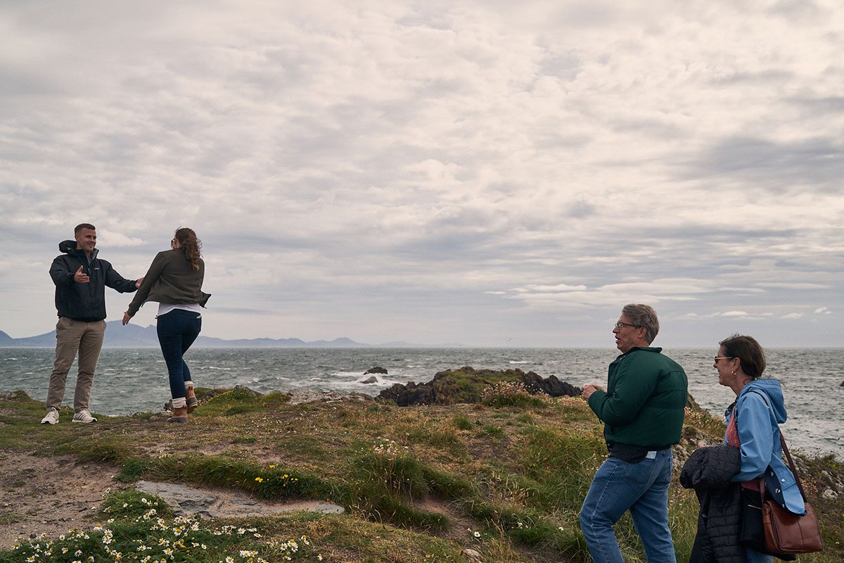 partner shocked to see her boyfriend on Llanddwyn Island