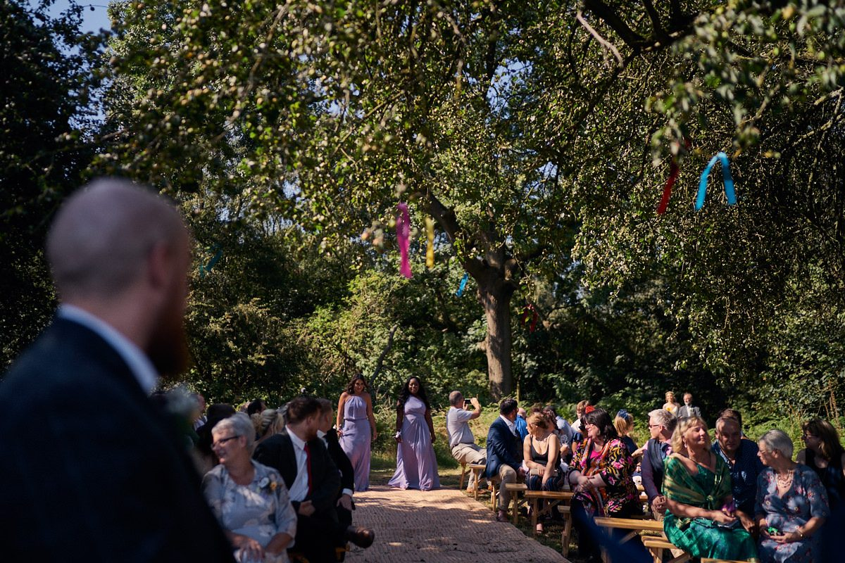 guests waiting for the brides arrival in the woods