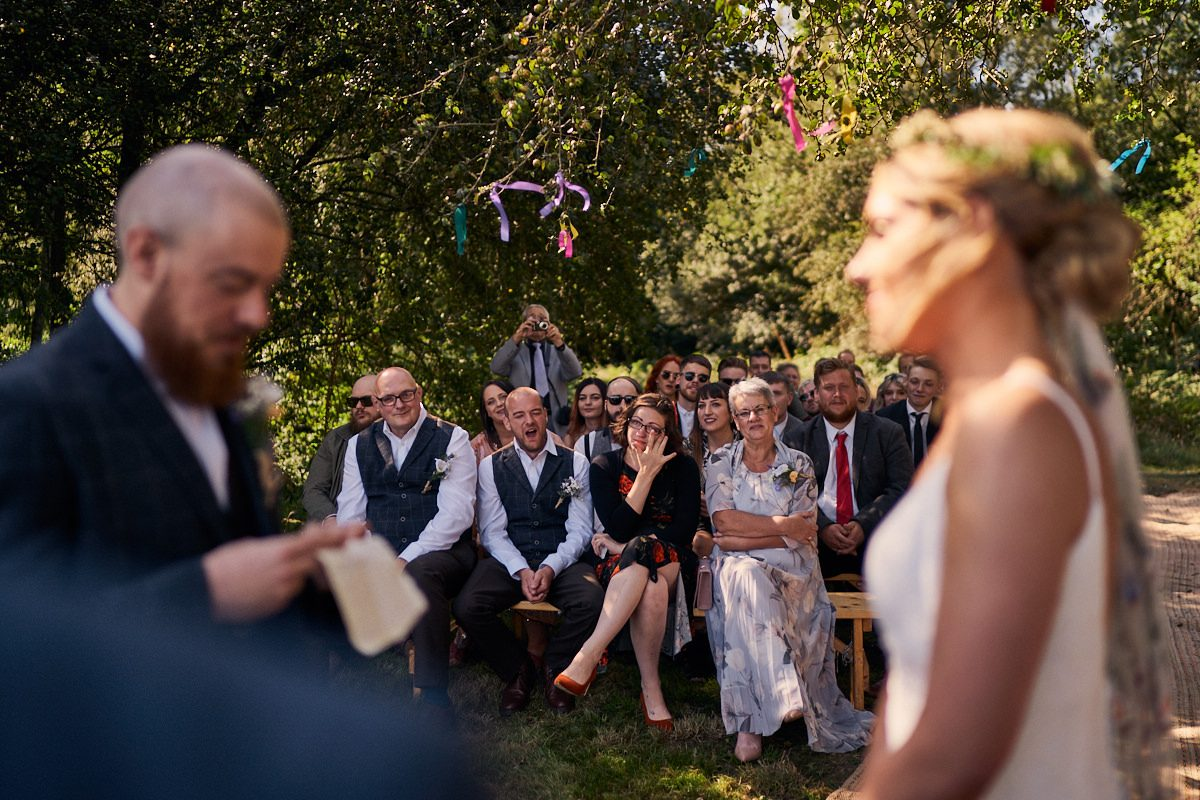 guests reaction to grooms vows