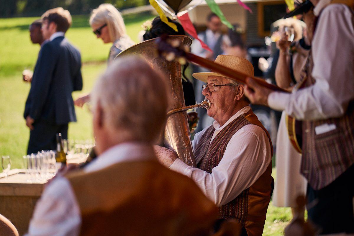 jazz band playing tipi wedding