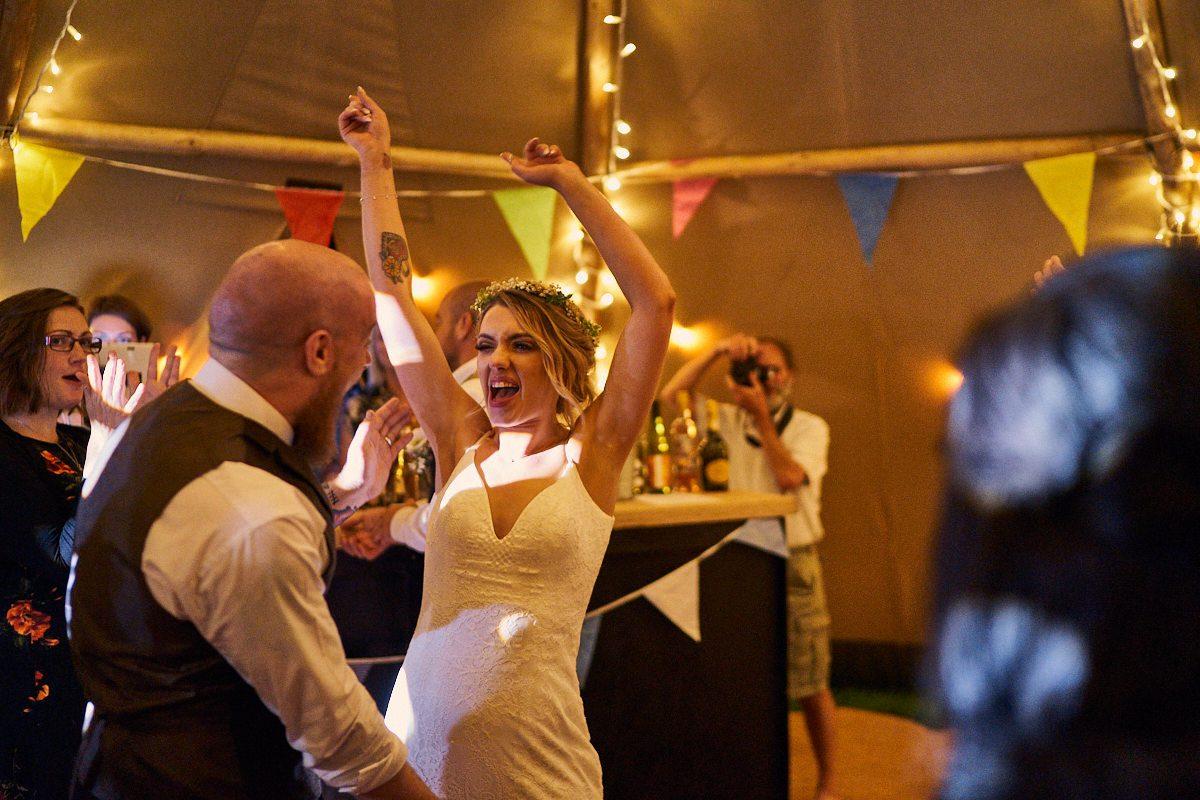 bride dancing hard