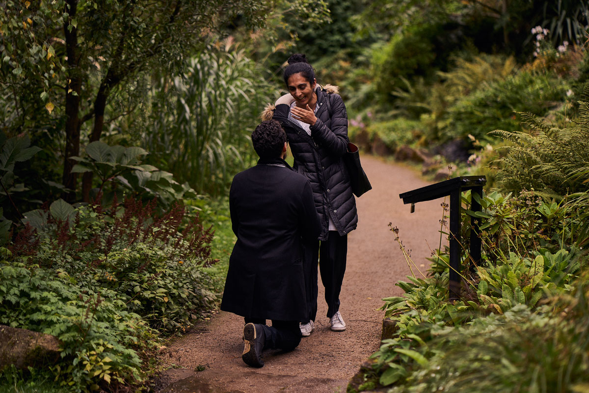 Man on one knee proposing to his partner in Fletch Moss Botanical gardens, Manchester